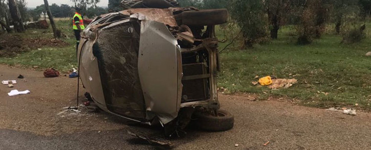 The wreckage of the scholar transport vehicle. Picture: ER24/Twitter