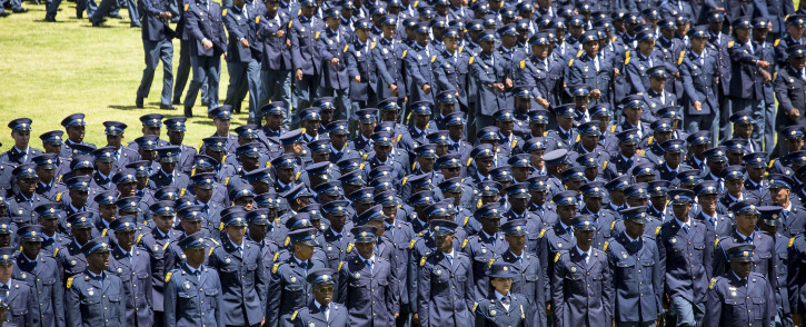 Saps new recruits march on parade at the Passing Out ceremony in Philippi, Cape Town. Picture: Thomas Holder/EWN