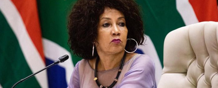 Minister of Human Settlements, Water & Sanitation Lindiwe Sisulu at an inter-ministerial briefing on 24 March 2020 detailing how government will respond ahead of and during the 21-day lockdown announced by President Cyril Ramaphosa. Picture: Kayleen Morgan/EWN.