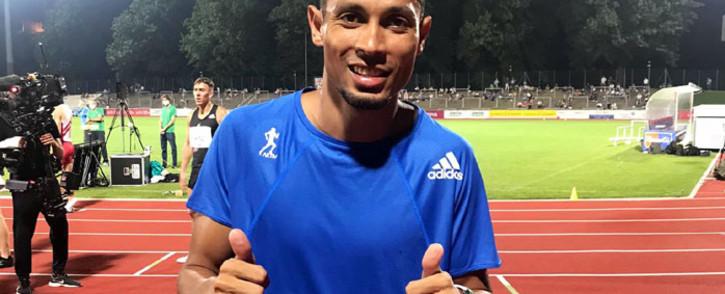 Olympic 400m champion Wayde van Niekerk celebrates his win in the 400m event in Bellinzona, Switzerland on 15 September 2020. Picture: @WaydeDreamer/Twitter