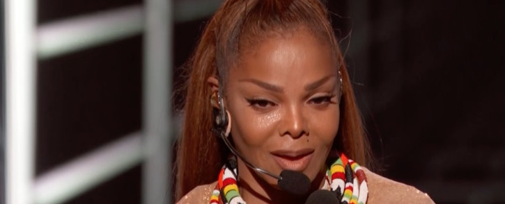 A screengrab of Janet Jackson accepting her award at the 2018 Billboard Music Awards.