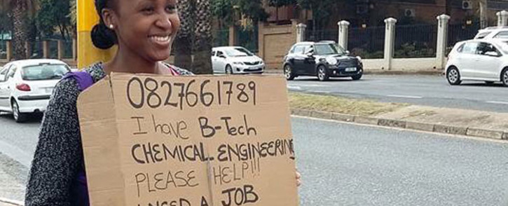 Graduate, Anthea Malwandle stood at a busy Rosebank intersection after she had tried, unsuccessfully, to use traditional channels to seek employment. Picture: Social Media.