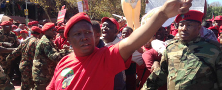 EFF leader Julius Malema leads thousands of EFF supporters through the streets of Johannesburg to the SABC offices in Auckland Park following the banning of their election campaign advert. 29 April 2014. Picture: Reinart Toerien/EWN.