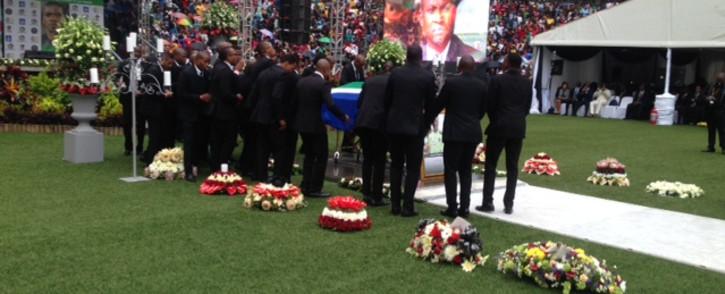 Buccanneers around the casket of Bafana Bafana captain Senzo Meyiwa. Picture: Vumani Mkhize/EWN
