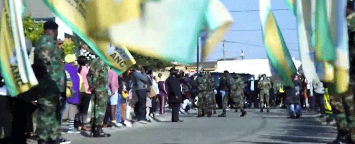ANC flags seen on 28 July 2020 as members of the Soweto community gathered. Andrew Mlangeni was brought home by the ANC ahead of his funeral on 29 July. Picture: @MyANC/Twitter