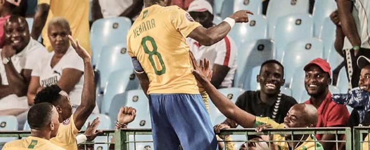 Mamelodi Sundowns' Hlompho Kekana celebrates his goal against Bloemfontein Celtic during their Absa Premiership match on 19 February 2020. Picture: @Masandawana/Twitter