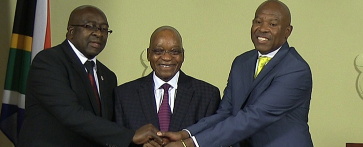 Finance Minister Nhlanhla Nene, President Jacob Zuma, and newly appointed Reserve Bank Governor Lesetja Kganyago at the appointment of the institution's new head in Pretoria on 06 October 2014. Picture: Reinart Toerien/EWN