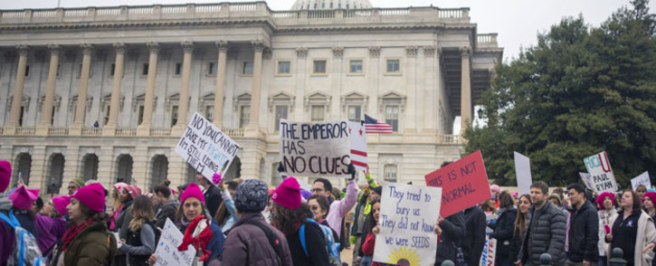 Demonstrators arrive at US Capital for the Women's March on Washington on January 21, 2017 in Washington, DC. Picture: AFP.