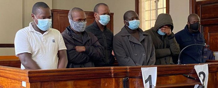 FILE: The six men accused of the murder of Gauteng Health Department official, Babita Deokaran, appeared in the Johannesburg Magistrates Court on 30 August 2021. The charges against a seventh suspect were provisionally withdrawn. Picture: Abigail Javier/Eyewitness News