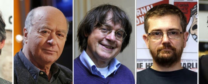 A combination of file photos made on January 7, 2015 shows (from L) French satirical weekly Charlie Hebdo's deputy chief editor Bernard Maris and cartoonists Georges Wolinski, Jean Cabut, aka Cabu, Charb and Tignous. Picture: AFP.