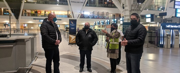 Western Cape Finance and Economic Opportunities MEC David Maynier (L) on 10 June 2020 visited Cape Town International Airport to evaluate the measures taken by airport management to reopen the airport for business travellers under level 3 lockdown. Picture: @DavidMaynier/Twitter