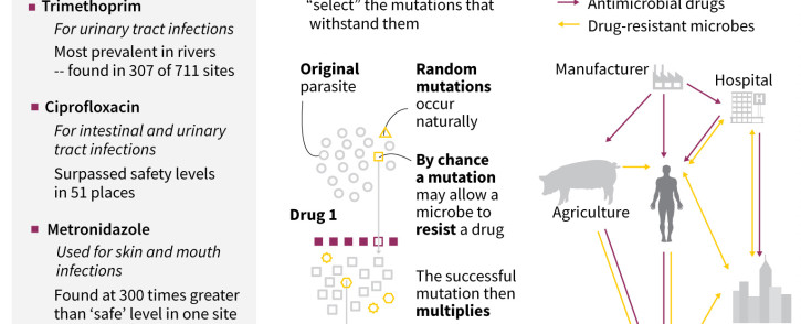 A graphic on antibiotics pollution in rivers and the risk of superbugs. A global study has found that rivers across the world are being polluted by antibiotics. This has raised fears that bugs will become resistant to lifesaving medication. Picture: AFP
