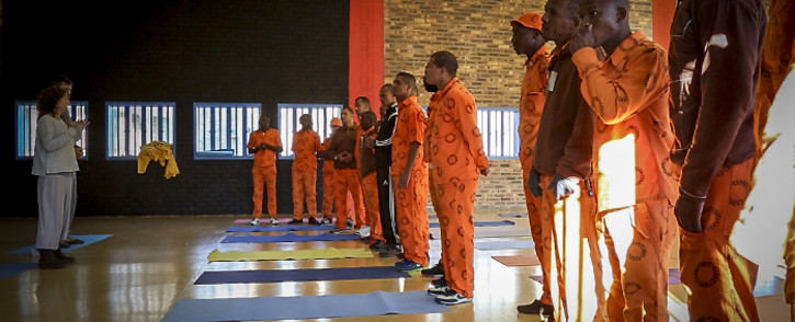 Prison Freedom Project co-founder Leela Codron briefs a class before the start of a yoga session at Malmesbury prison. Picture: Aletta Gardner/EWN