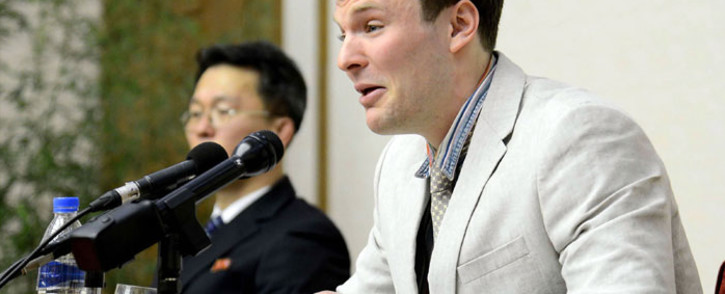 FILE: US student Otto Frederick Warmbier who was arrested for committing hostile acts against North Korea, speaking at a press conference in Pyongyang. Picture: AFP