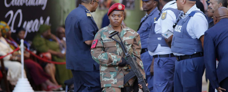 FILE: An SANDF soldier patrols near Parliament ahead of the arrival of President Jacob Zuma for the opening ceremony of the State Of The Nation Address. Picture: AFP