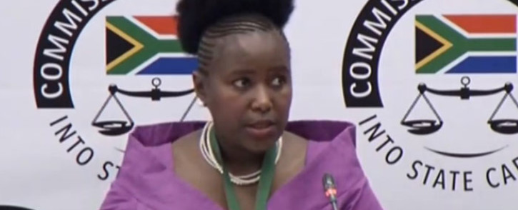 A screengrab of founding member and director of SRS Aviation Sibongile Sambo at the Zondo Commission on 5 February 2020.