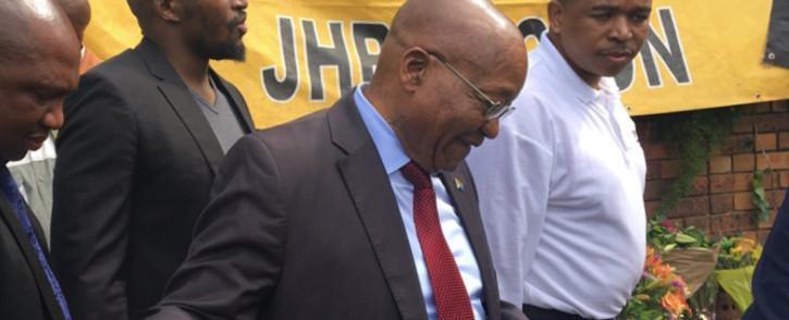 Former President Jacob Zuma greets ANC supporters outside late struggle stalwart Winnie Madikizela-Mandela's home in Soweto. Picture: Gia Nicolaides/EWN