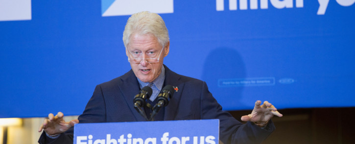 FILE: Former President Bill Clinton campaigns for his wife, Democratic presidential candidate Hillary Clinton. Picture: AFP.