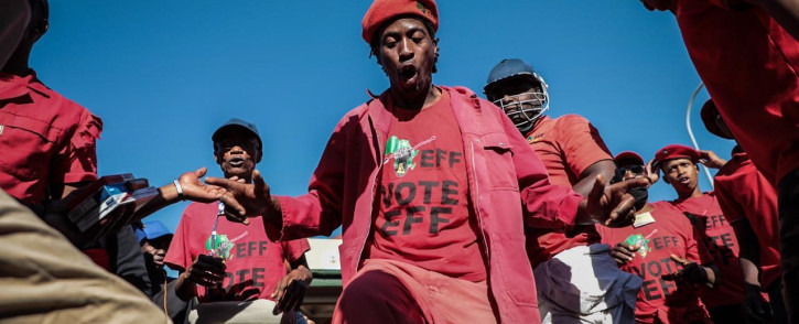 EFF members outside the Senekal Magistrates Court on 16 October 2020. Picture: Abigail Javier/EWN