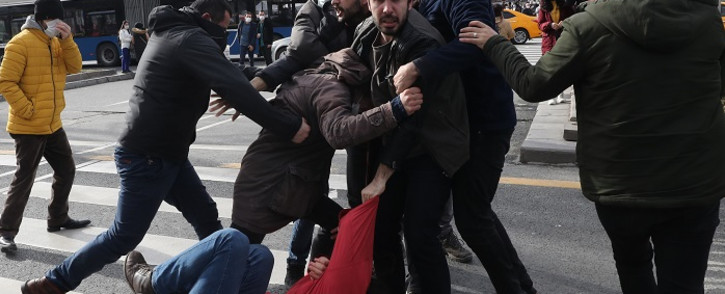 Turkish Police detained activists supporting Bogazici University students protesting against the appointment by the Turkish government of a new rector in Ankara on February 2, 2021. Picture: Adem Altan / AFP.