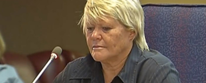 A screengrab of former state prosecutor Glynnis Breytenbach testifying at the Mokgoro Inquiry on 29 January 2019.