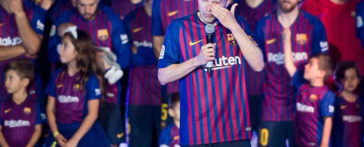 Barcelona midfielder Andres Iniesta bids fans and teammates goodbye following his final game for the side. Picture: @FCBarcelona/Twitter