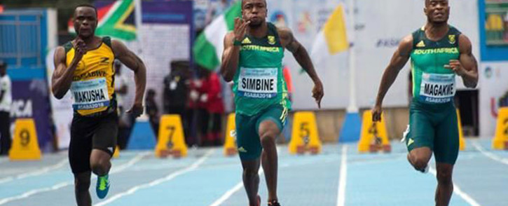 SA sprinters Akani Simbine and Simon Magakwe in actio in at the CAA African Senior Championships in Asaba, Nigeria on 2 August 2018. Picture: @iaaforg/Twitter