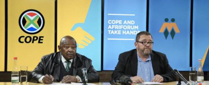 Cope leader Mosiuoa Lekota (right) and AfriForum's Kallie Kriel at a press conference in Pretoria. Picture: Afriforum.co.za