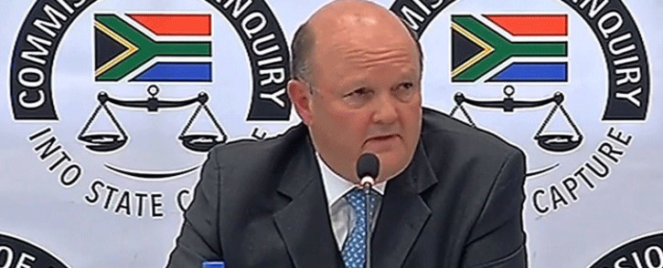 A screengrab shows Standard Bank's Ian Sinton giving evidence at the Zondo Commission of inquiry on 17 September 2018.
