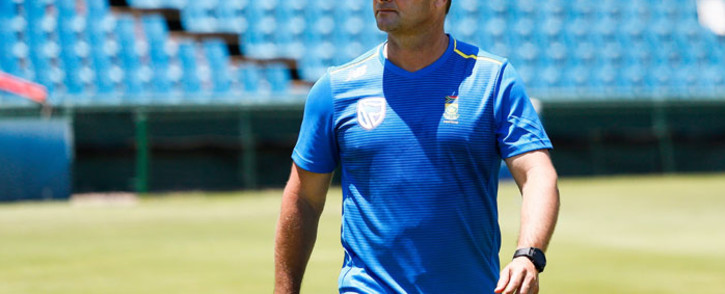 FILE: South Africa's cricket team head coach Mark Boucher looks on during a team training session at the SuperSport Park Cricket Stadium in Centurion, on 20 December 2019, ahead of a four-match Test series against England starting on 26 December 2019. Picture: AFP