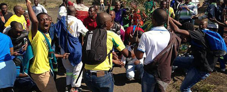 Lonmin miners take part in an illegal strike on 14 May 2013. Picture: Lesego Ngobeni/EWN