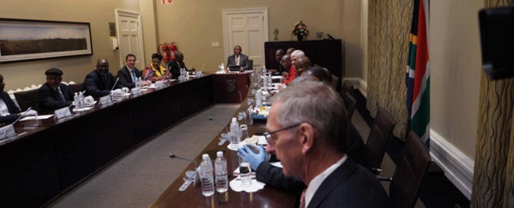 FILE: President Cyril Ramaphosa held a meeting with political party leaders on 18 March 2020 to discuss the national response to the Coronavirus (COVID-19) disaster. Picture: Kevin Brandt/Eyewitness News.