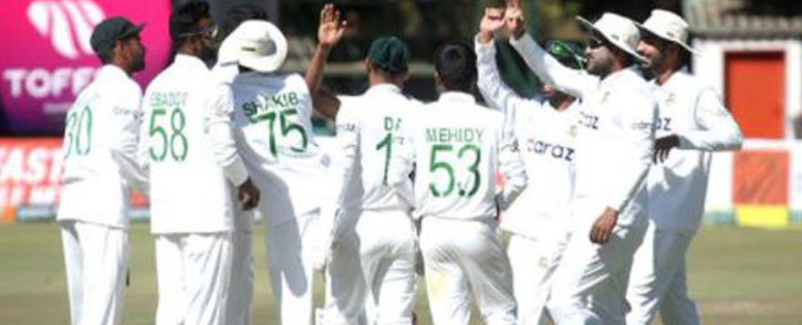 The Bangladesh team celebrate a crushing 220-run win over Zimbabwe on the final day of a one-off Test at Harare Sports Club on 11 July 2021. Picture: Twitter/@ICC