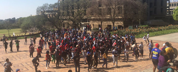 Students arrive at the great hall for a meeting. Picture Clement Manyathela/EWN.