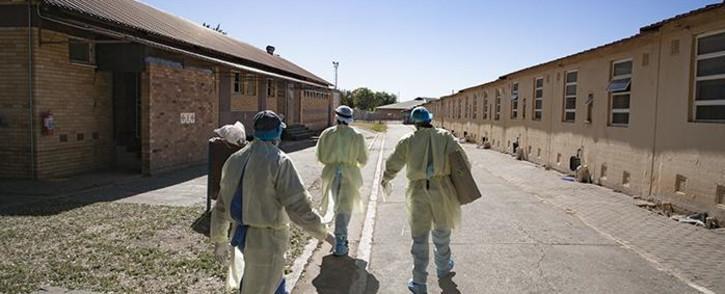 Health authorities who accompanied North West Health MEC, Madoda Sambatha on Wednesday 27 May 2020 Impala Mine in Rustenburg to monitor workplace compliance. Pictures: Sethembiso Zulu/EWN.