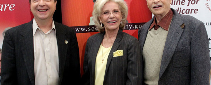 (L-R) Actor Paul OKeefe, actress Patty Duke and actor Eddie Applegate attend the Social Security Administration Reunites the cast of The Patty Duke Show press conference at the Paley Center for Media on March 23, 2010 in Beverly Hills, California. Picture: AFP/Frederick M. Brown/Getty Images
