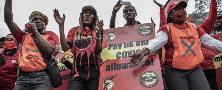 Cosatu President Zingiswa Losi leads the march to Treasury in Pretoria for the national strike on 7 October 2020. Picture: Abigail Javier/EWN