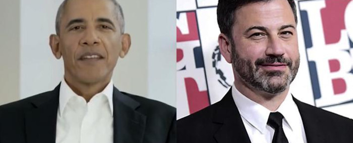 Former US President Barack Obama (left) made a surprise appearance on Jimmy Kimmel's (right) fundraising special to encourage his viewers to fight against Aids. Picture: CNN