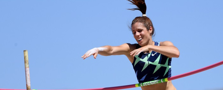 Katerina Stefanidi of Greece reacts as she fails to clear her opening height in the women's pole vault during the Weltklasse Zurich Inspiration Games amidst the coronavirus (COVID-19) pandemic on July 09, 2020 in Walnut, California. Harry How/AFP