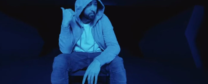 A YouTube screengrab of Eminem in his music video for 'Darkness'.