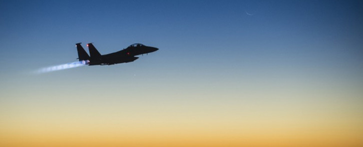 FILE: A US Air Force F-15E Strike Eagle flying over northern Iraq after conducting airstrikes in Syria. Picture: AFP.