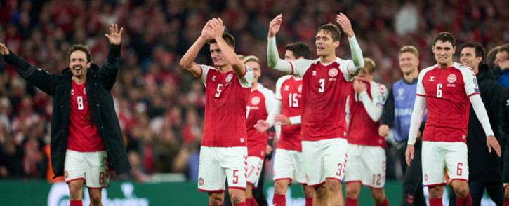 Denmark players celebrate qualifying for the 2022 Fifa World Cup after they defeated Austria 1-0 on 12 October 2021. Picture: @EURO2024/Twitter