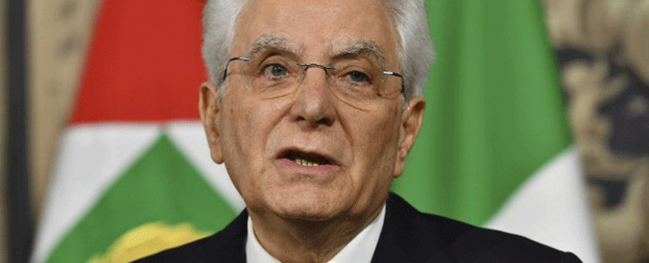 FILE: Italy's President Sergio Mattarella addresses journalists after a meeting with Italy's prime ministerial candidate Giuseppe Conte on 27 May 2018 at the Quirinale presidential palace in Rome. Picture: AFP.