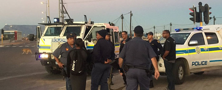 FILE. A file image of Western Cape police monitoring the scene following a protest in Du Noon on Friday 8 April 2016. Picture: Monique Mortlock/EWN.