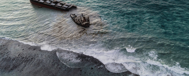 This aerial picture taken on 16 August 2020, shows the 'MV Wakashio' bulk carrier that had run aground and broke into two parts near Blue Bay Marine Park, Mauritius. Picture: AFP