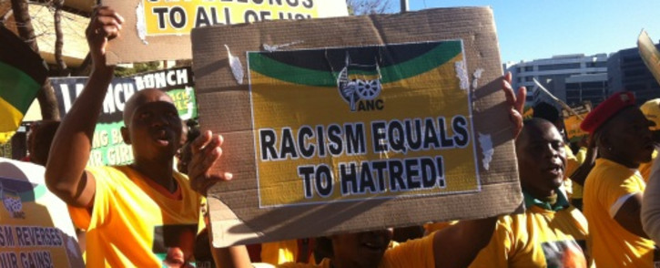 The ANC protests outside Primedia Broadcasting's Sandton offices. Picture: Christa Eybers/EWN.