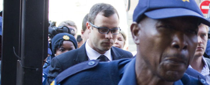 Oscar Pistorius arrives at the High Court in Pretoria ahead of his murder trial on 7 August 2014. Picture: Christa Eybers/EWN.