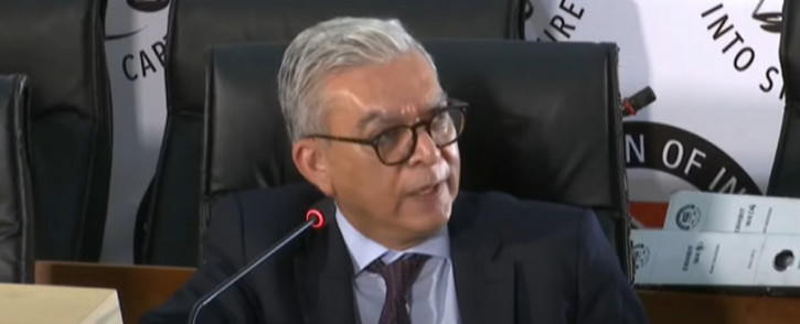 A screengrab of Transnet's former Denel group chief executive Riaz Saloojee appearing at the state capture inquiry on 26 November 2020. Picture: SABC/YouTube