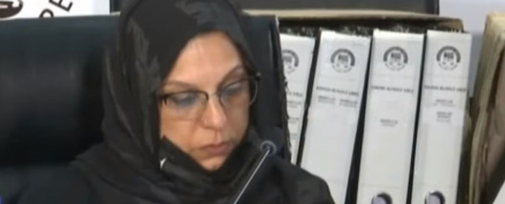 A screengrab of travel agent Sameera Sooliman appearing at the state capture inquiry on 18 May 2021. Picture: SABC/YouTube