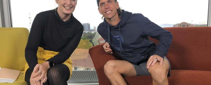 EWN Sport's Cato Louw and trail runner Ryan Sandes. Picture: EWN